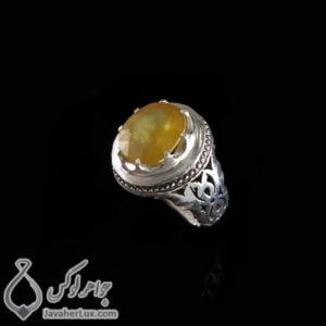 انگشتر نقره مردانه یاقوت زرد مدل ایلا _ کد : 100412