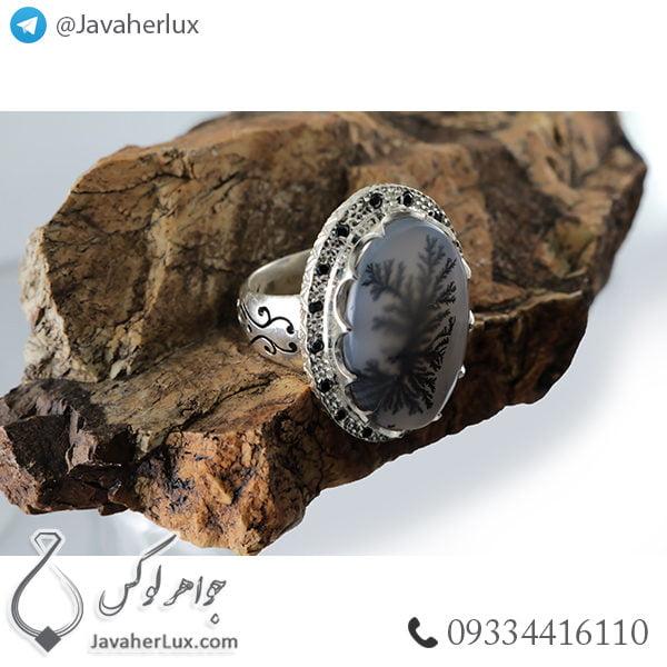 انگشتر نقره مردانه عقیق شجر منظره _ کد : 100413
