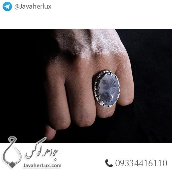 انگشتر نقره مردانه عقیق شجر منظره _ کد : ۱۰۰۴۱۳