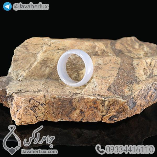 حلقه عقیق سفید مدل بهبد _ کد : 400268 - جواهر لوکس