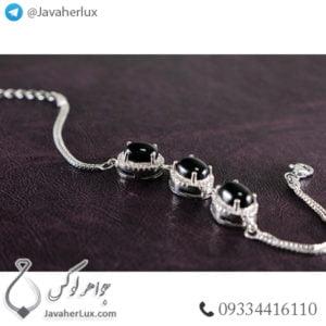 دستبند نقره زنانه عقیق سیاه _ کد : 100440