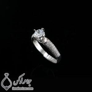 انگشتر نقره زنانه نگین سوئیسی _ کد : 100436
