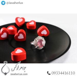انگشتر نقره زنانه یاقوت سرخ مدل پاساک _ کد : 100437