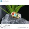 انگشتر نقره زنانه چند جواهر آبکاری طلایی _ کد : 100448