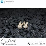 گوشواره زنانه طرح خرگوش جواهر نشان طلایی _ کد : 200281