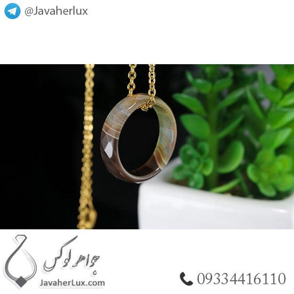 حلقه سنگ عقیق سلیمانی مدل پیلسم _ کد : 400319