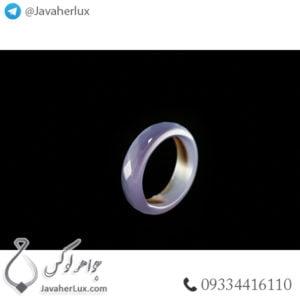 حلقه سنگ عقیق سلیمانی مدل تباک _ کد : 400331