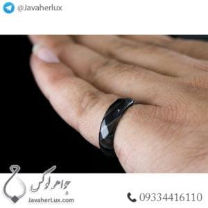 حلقه سنگ عقیق سلیمانی مدل تکتا _ کد : 400335