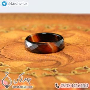 حلقه سنگ عقیق سلیمانی مدل جادی _ کد : 400347