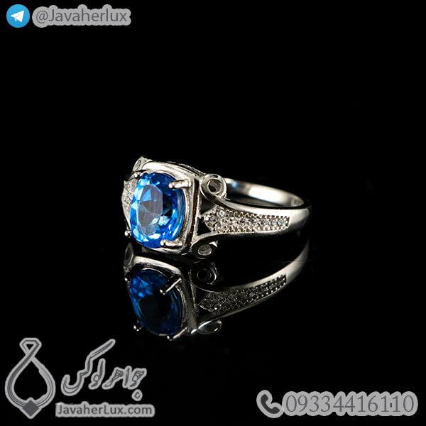 انگشتر نقره زنانه توپاز لندنی _ کد : 100463