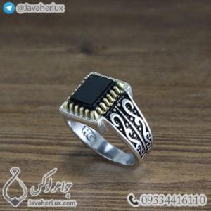انگشتر نقره مردانه عقیق سیاه _ کد : 100468