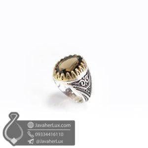 انگشتر نقره مردانه کوارتز دودی _ کد : 100500