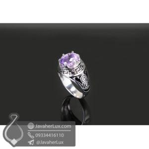انگشتر نقره مردانه آمتیست مدل راشا _ کد : 100501
