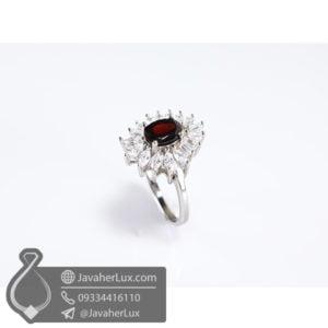 انگشتر نقره زنانه گارنت _ کد : 100502 - جواهر لوکس
