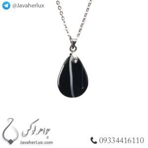 گردنبند سنگ عقیق سیاه مدل داران _ کد : 400376