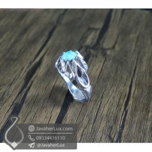 انگشتر نقره مردانه فیروزه نیشابوری مدل رامی _ کد : 100504