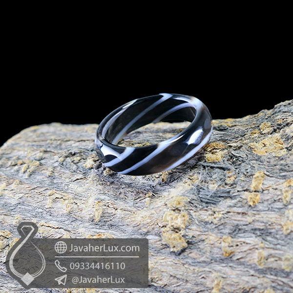 حلقه سنگ عقیق سلیمانی مدل رستهم _ کد : 400395