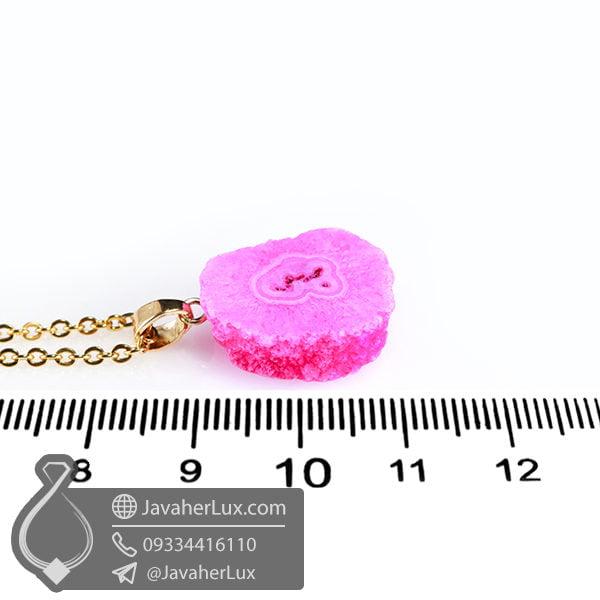 گردنبند سنگ کوارتز صورتی مدل روزک _ کد : 400404