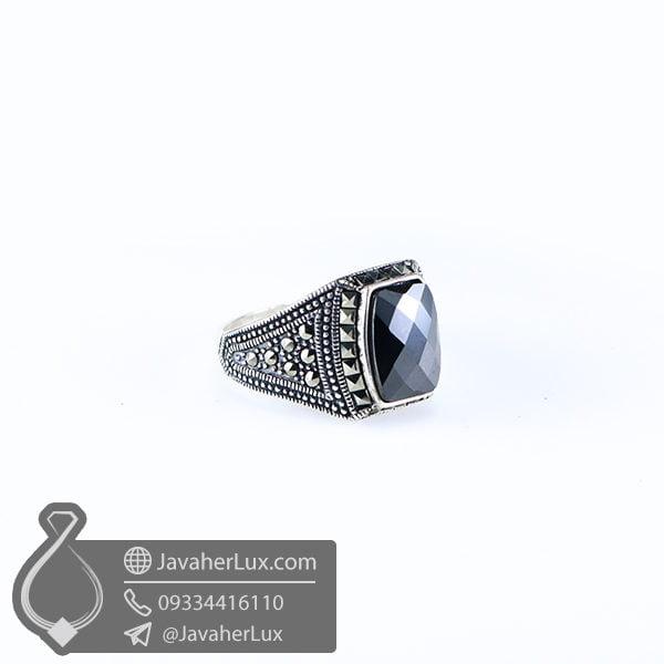 انگشتر نقره مردانه عقیق سیاه مدل ریونیز _ کد : 100520