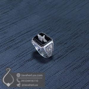 انگشتر نقره مردانه عقیق سیاه هخامنشی _ کد : 100522