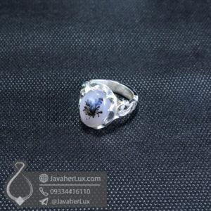 انگشتر نقره مردانه عقیق شجر مدل زمران _ کد : 100554