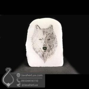 چراغ سنگ نمک طرح گرگ _ کد : 400457