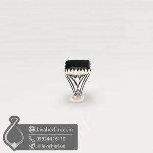 انگشتر نقره مردانه عقیق سیاه مدل سامیا _ کد : 100571