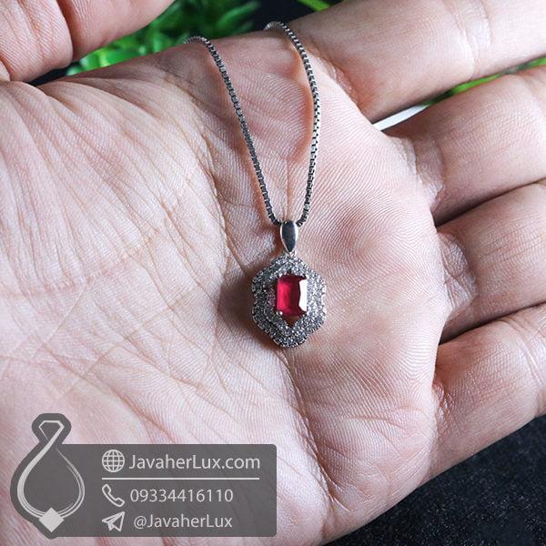 گردنبند نقره طرح یاقوت سرخ _ کد : 100560