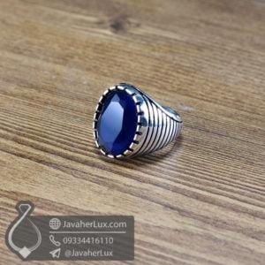 انگشتر نقره مردانه نگین طرح یاقوت کبود _ کد : 100561