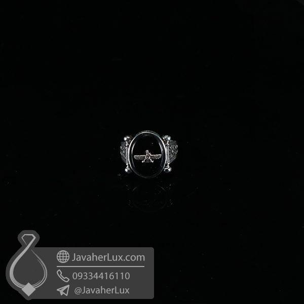 انگشتر عقیق سیاه طرح فروهر _ کد : 100566