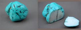 سنگ هاولیت رنگ شده به جای فیروزه که بعد از شکسته شدن مغز سفید رنگ ان مشخص است