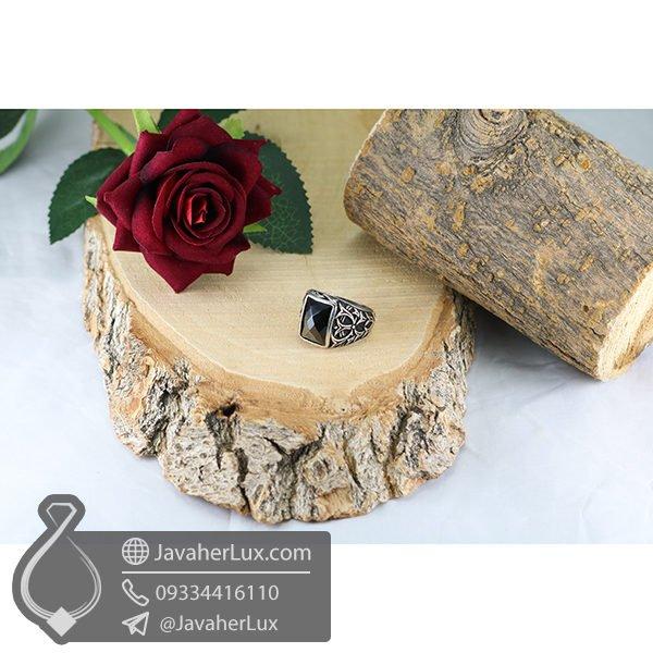 انگشتر نقره مردانه عقیق سیاه _ کد : 100587