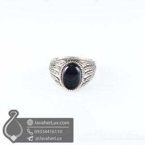 انگشتر نقره مردانه عقیق سیاه مدل سزار _ کد : 100596