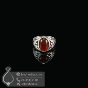 انگشتر نقره مردانه عقيق قرمز مدل سزار _ کد: 100604