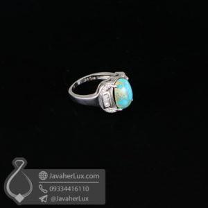 انگشتر نقره فیروزه نیشابوری مدل کروخان _ کد : 100625