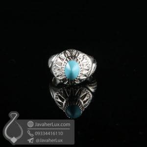 انگشتر نقره مردانه فیروزه نیشابوری طبیعی _ کد : 100631