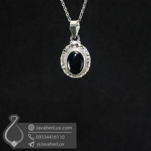 گردنبند عقیق سیاه نقره زنانه _ کد : 100687