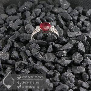 انگشتر نقره زنانه یاقوت سرخ مدل دورانت _ کد : 100689