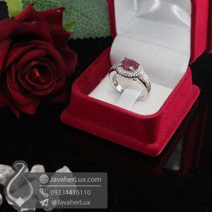 انگشتر نقره زنانه یاقوت سرخ مدل یاراند _ کد : 100695
