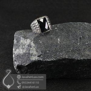 انگشتر نقره مردانه نگین عقیق سیاه _ کد : 100703