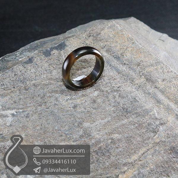 حلقه سنگ عقیق سلیمانی مدل قصان _ کد : 400649