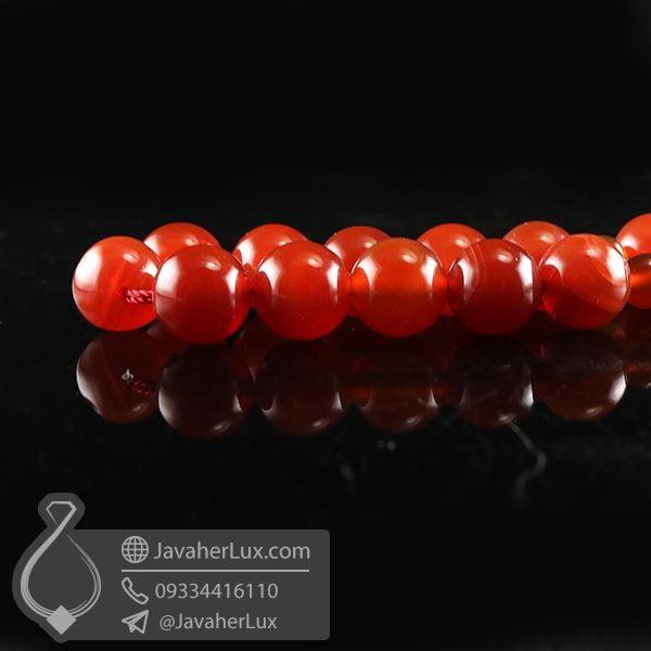 تسبیح 33 دانه عقیق قرمز تراش گرد _ کد : 500075