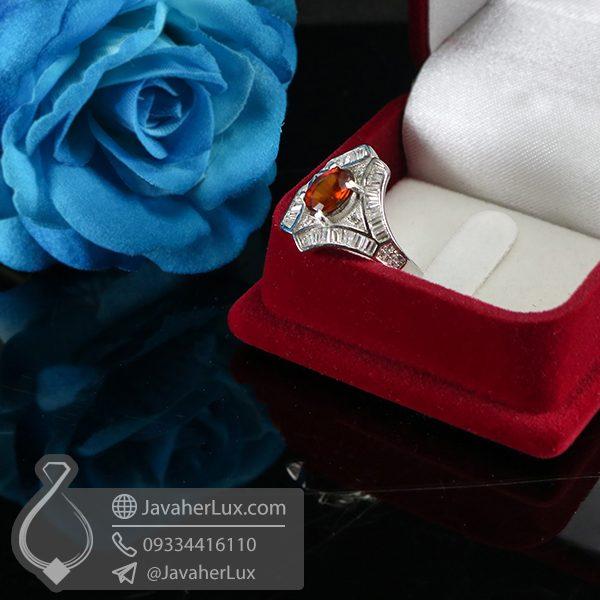 انگشتر گارنت نقره زنانه _ کد : 100685