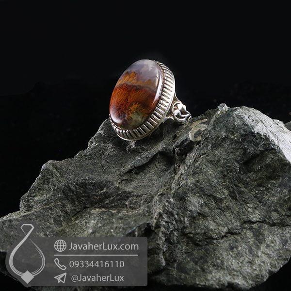 انگشتر نقره مردانه عقیق شجر دریایی _ کد : 100709