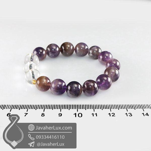 دستبند سنگ آمتیست و کریستال کوارتز _ کد : 400674
