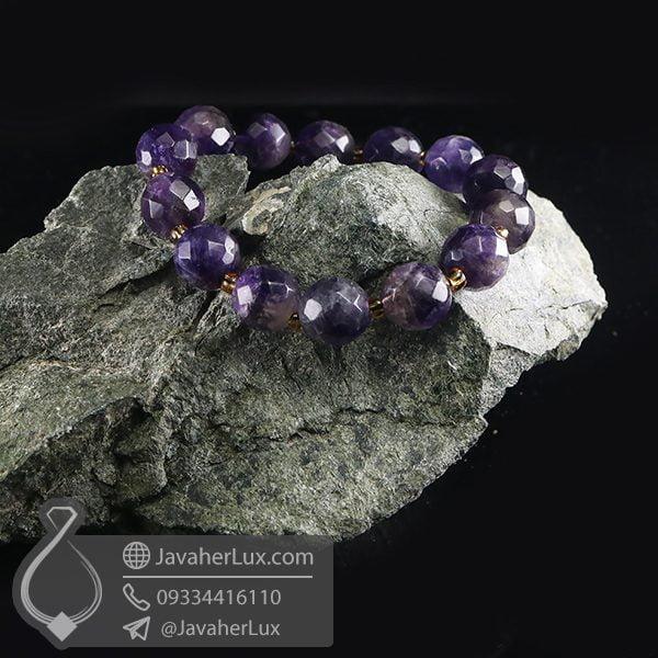 دستبند سنگ آمتیست تراش _ کد : 400684 | دستبند زنانه | دستبند آمتیست | جواهر لوکس
