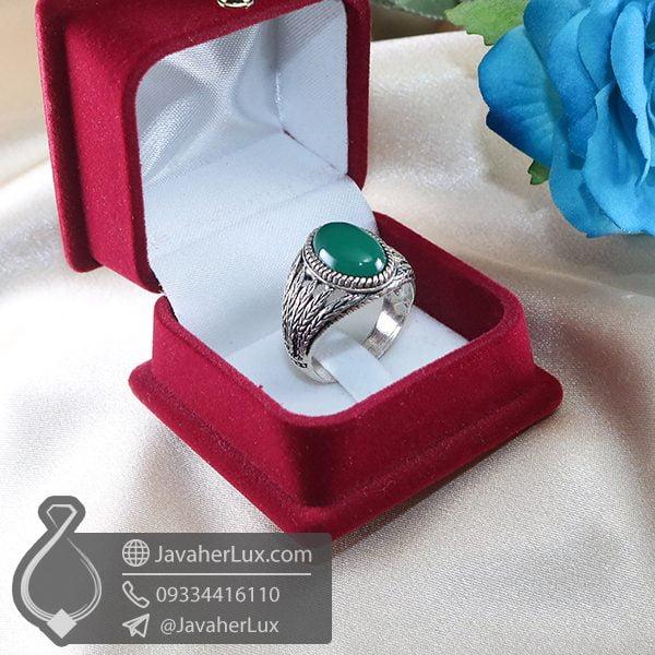 انگشتر نقره مردانه عقیق سبز _ کد : 100714 | انگشتر مردانه | انگشتر نقره | انگشتر نقره عقیق | خرید انگشتر