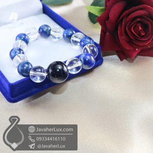 دستبند سنگ کریستال کوارتز و لاجورد و دلربا _ کد : 400705