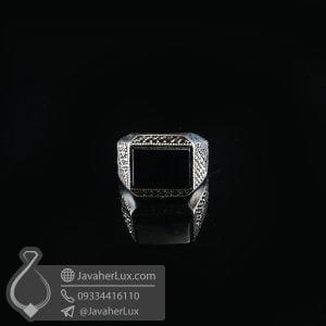 انگشتر نقره مردانه عقیق سیاه _ کد : 100724