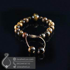 دستبند بافت سنگ چشم ببر _ کد : 400708